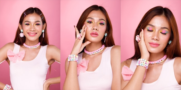 Half body portrait of 20s asian woman black hair pastel sweet dress. girl wear fashion style and poses over pink background isolated