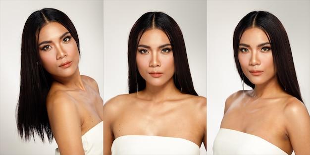 Половина тела портрет азиатской загорелой кожи 20-х годов. женщина с черными длинными прямыми волосами, открытыми плечом, как красота выстрела. конкурс театрализованного представления девушка выражает улыбку счастливой сильной много поз на белом фоне