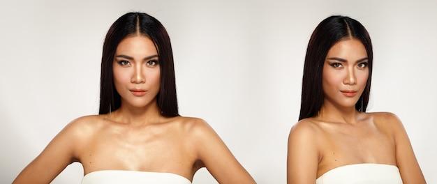 20代のアジアの日焼けした肌の半身の肖像画美しさのショットとして女性の黒い長いストレートの髪の開いた肩。ページェントコンテストの女の子は、白い背景に分離された笑顔幸せな強い多くのポーズを表現します