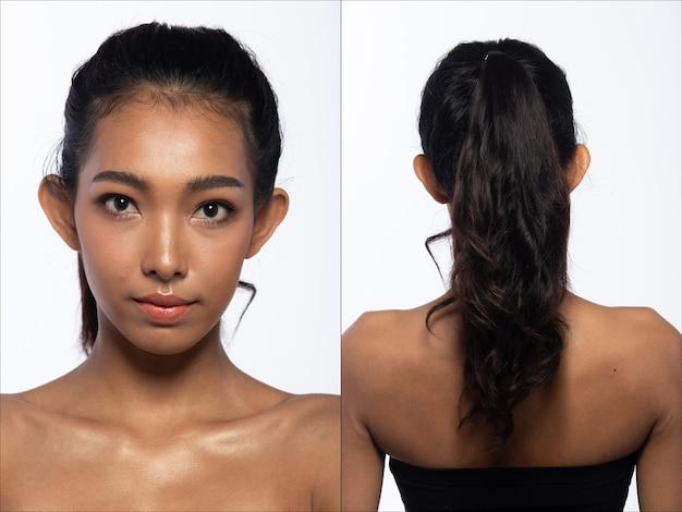 Половина тела портрет азиатской женщины 20-х годов, широкие брюки с черными волосами. девушка поворачивает 360 вокруг задней стороны вид сзади многие позы на белом фоне изолированные