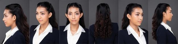 Половина тела портрет 20-х годов азиатская женщина черные волосы носить одежду брюки. девушка поворачивает 360 вокруг заднего вида сзади на сером фоне изолированы