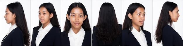 Половина тела портрет 20-х годов азиатская женщина черные волосы носить одежду брюки. девушка поворачивает 360 вокруг задней стороны вид сзади на белом фоне изолированные