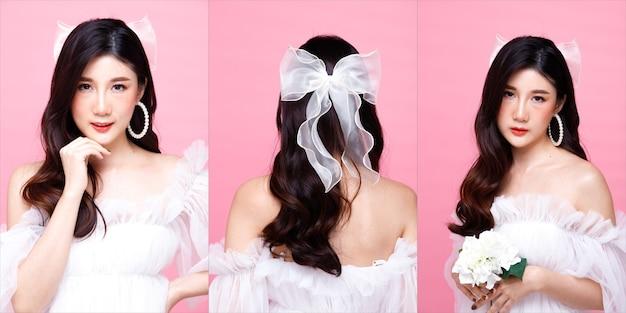 Половина тела портрет 20-х годов азиатской женщины черные волосы белое платье. девушка поворачивается на 360 градусов сзади, вид сзади, многие позы на розовом фоне изолированы