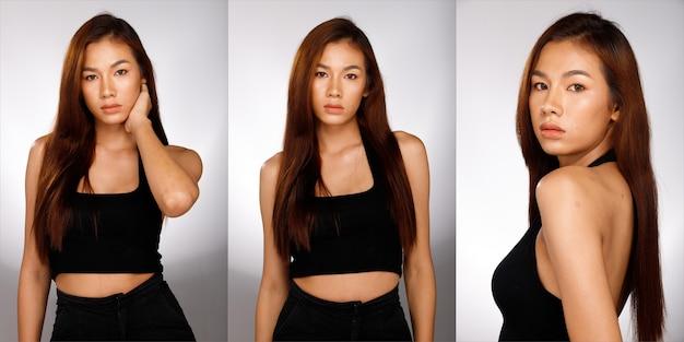 Половина тела портрет азиатской женщины 20-х годов пастельное сладкое платье волос. девушка носить модный стиль и позирует на белом фоне изолированные