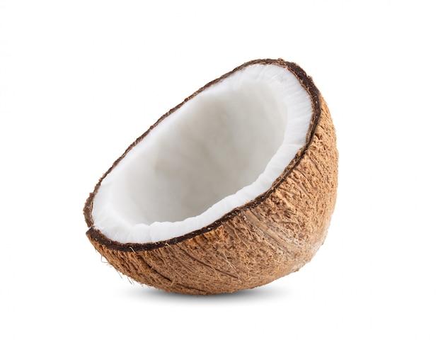 白い壁に半分のココナッツ。
