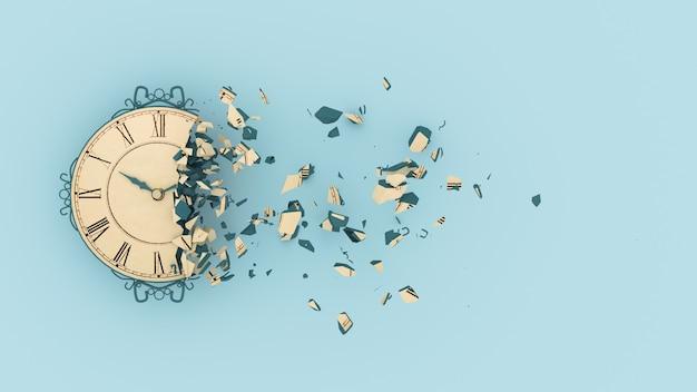 Наполовину разрушенные часы с вылетающими фрагментами, 3d иллюстрация