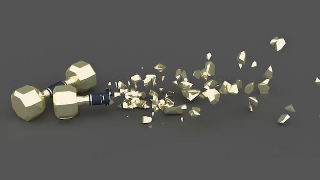 Half destroyed dumbbells with flying fragments, 3d illustration