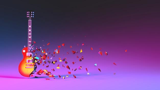 Наполовину разрушенная электрогитара с разлетающимися осколками в неоновом освещении, 3d иллюстрация