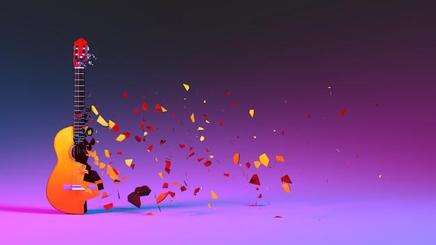Полуразрушенная гитара с летающими осколками в неоновом освещении, 3d иллюстрация