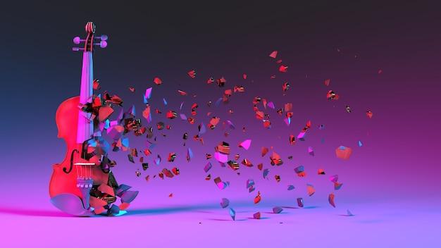 Наполовину разрушенная скрипка с разлетающимися осколками в неоновом освещении, 3d иллюстрация