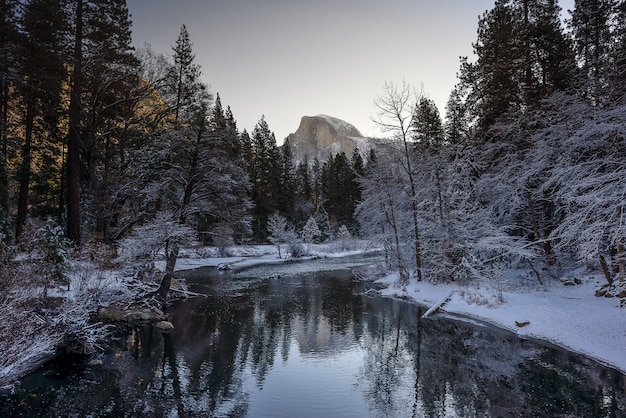 Half dome  and reflection during the winter