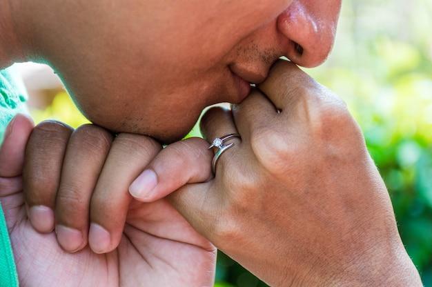 Половина лица человека, целующего руку своей невесты