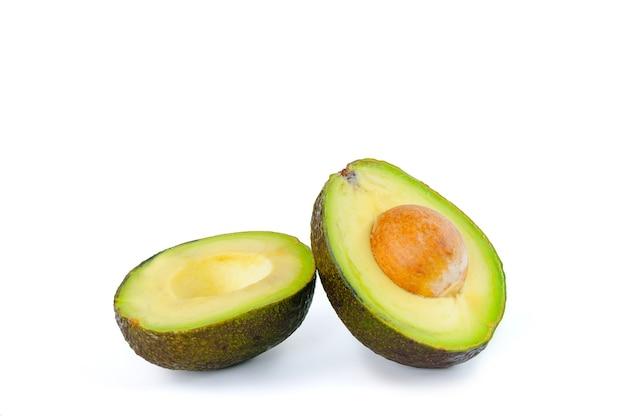 Half of fresh avocado isolated on white background