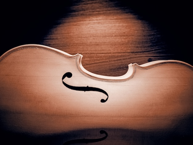 The half front side of raw violin, vintage and art tone