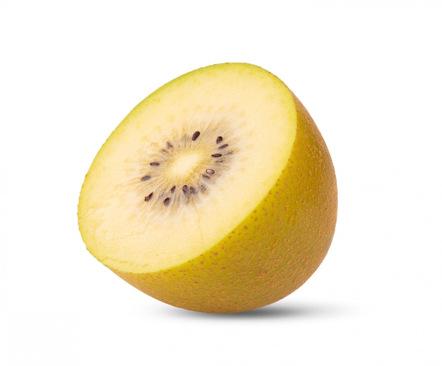 Half gold kiwi fruit on a white wall .