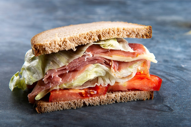 Half italian sandwich with parma ham freshly cooked