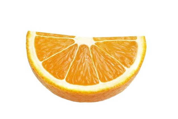 白い背景に分離されたオレンジの半分+クリッピングパス