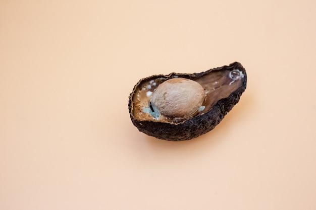 밝은 배경에 건강에 해로운 썩은 버릇없는 아보카도의 절반. 나쁜 아보카도가 열렸습니다. 곰팡이가 핀 아보카도
