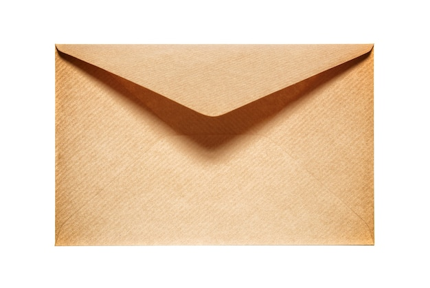 Half open old yellow paper envelope isolated on white background