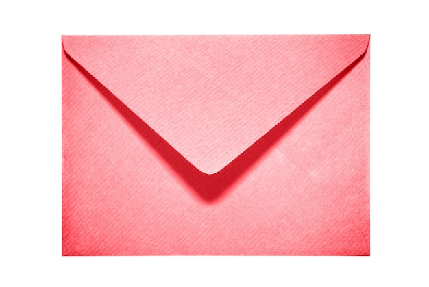 Half open red paper envelope isolated on white background