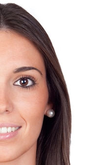 Half part of a pretty face girl isolated on a over white background