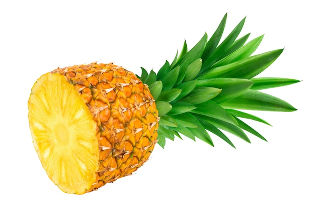 Half of pineapple isolated on white