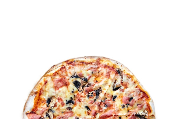 Half of pizza with mushrooms, cheese and ham isolated on white background with copy space. top view
