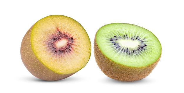 Half red and green  kiwi fruit isolated on white background