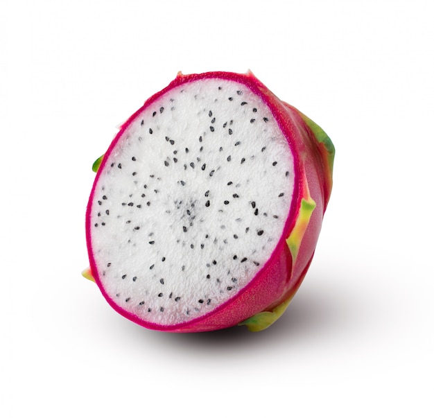 Half of ripe dragon fruit isolated on white background