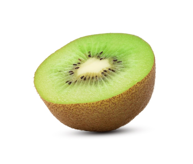 Half of ripe green kiwi isolated on white background. with clipping path