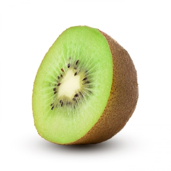 Half of ripe green kiwi isolated on white background