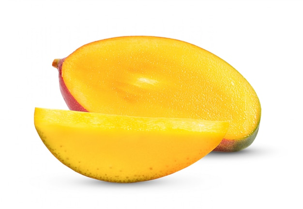 白の半分熟したマンゴー