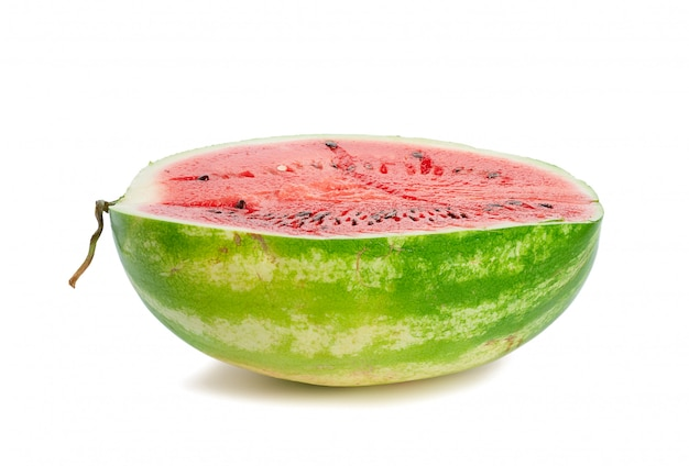 Half ripe red watermelon with seeds isolated on white background, delicious summer berry