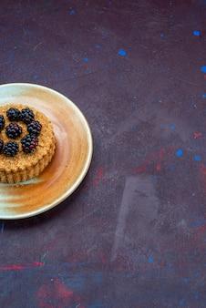 Vista dall'alto della piccola torta rotonda con frutti di bosco all'interno del piatto sulla superficie scura