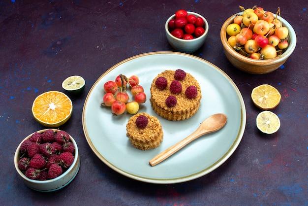 暗い表面に新鮮な果物とプレートの内側に新鮮なラズベリーと小さな丸いケーキのハーフトップビュー