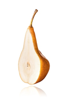 Half of williams or bartlett pear, slice, isolated on white background with drop shadow.