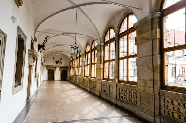 The hall of trophies in museum, nobody, europe. european famous places for travel and tourism
