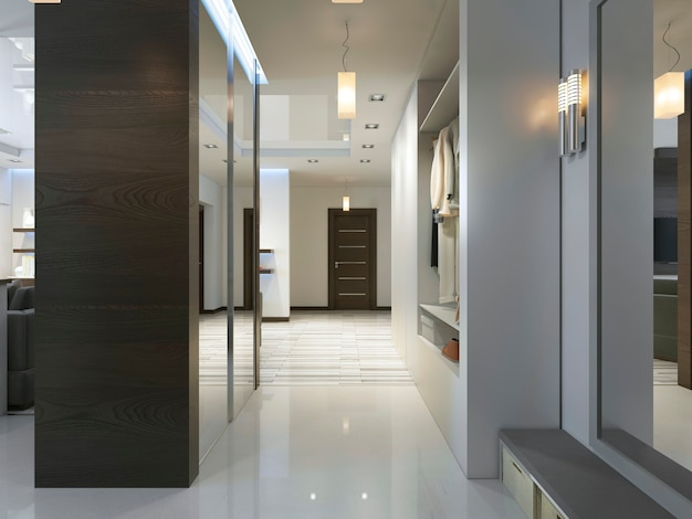 옷장과 미닫이 옷장이 있는 현대적인 스타일의 복도가 있는 홀. 3d 렌더링.