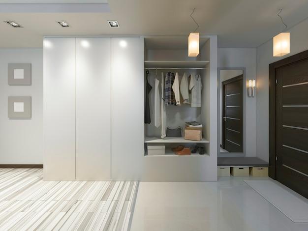 Прихожая в современном стиле с гардеробной и шкафом-купе. 3d визуализация.