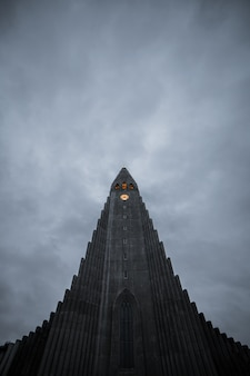 Hallgrimskirkja, reykjavik cathedral on a cloudy day, iceland.