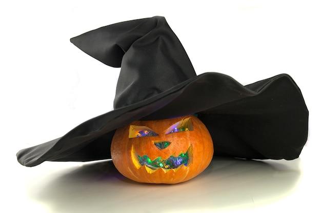 Хеллоуин аксессуары, тыква джек-о-фонарь в шляпе ведьмы