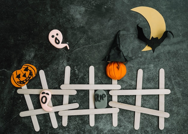 Halloween application with ghosts and bats