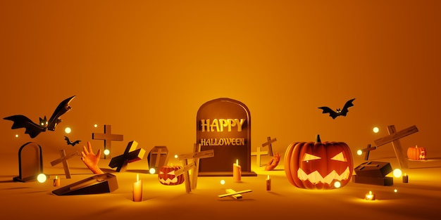 Хэллоуин фон надгробие тыква крест гроб желтый фон 3d иллюстрация