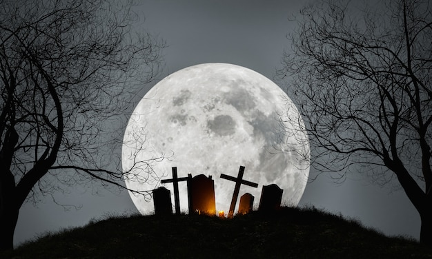 Хэллоуин кладбище с полной луной