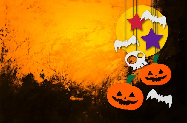 Хэллоуин фон оранжевая кирпичная стена фон пространство для текста плоская планировка 3d иллюстрации