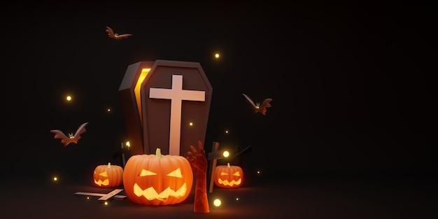 Хэллоуин фон тыква крест летучая мышь и гроб черный фон 3d иллюстрация