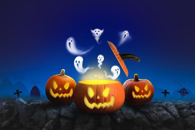 Хэллоуин фон страшные тыквы и темный лес с призраком