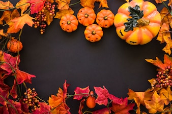 Halloween background with autumn leaves