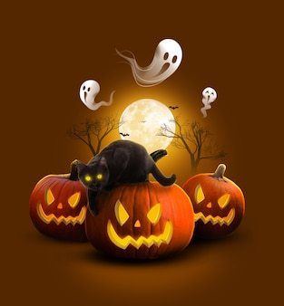 Фон на хэллоуин с черной кошкой идеи на хэллоуин коричневый тон