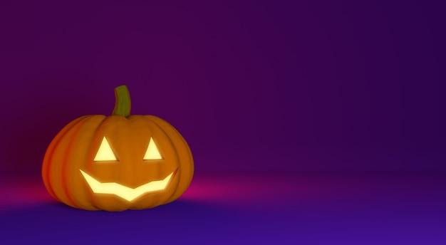 Halloween background with carved pumpkin jack lantern.